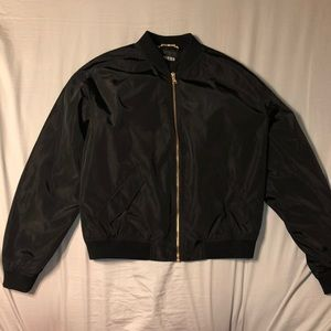 Express bomber jacket with gold hardware